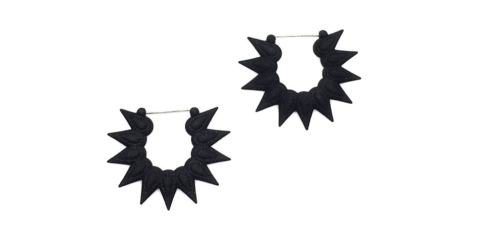 small black floral hoops