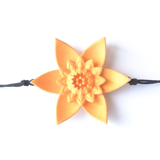 designer single flower bracelet handcrafted in illuminating yellow pantone 2021
