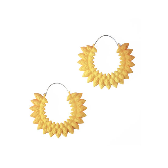 warm yellow flower earrings