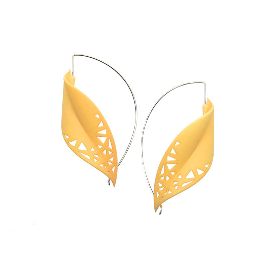Oversize contemporary earrings in warm citrus yellow