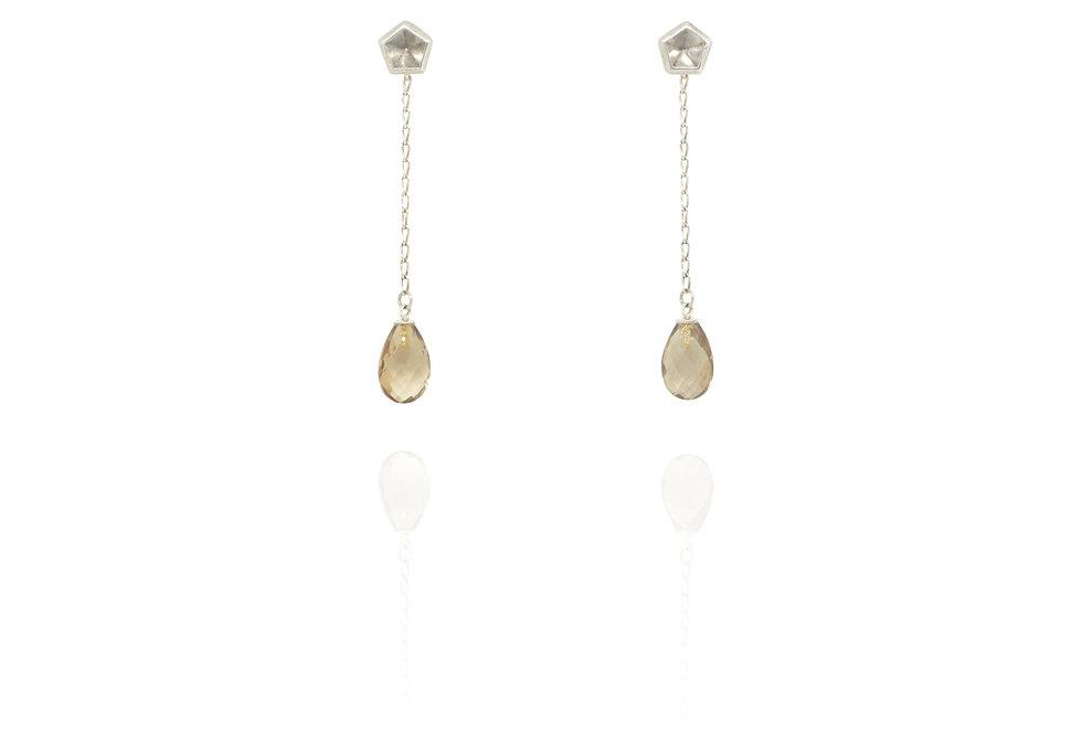 Dangling & stud earrings - Smoky quartz