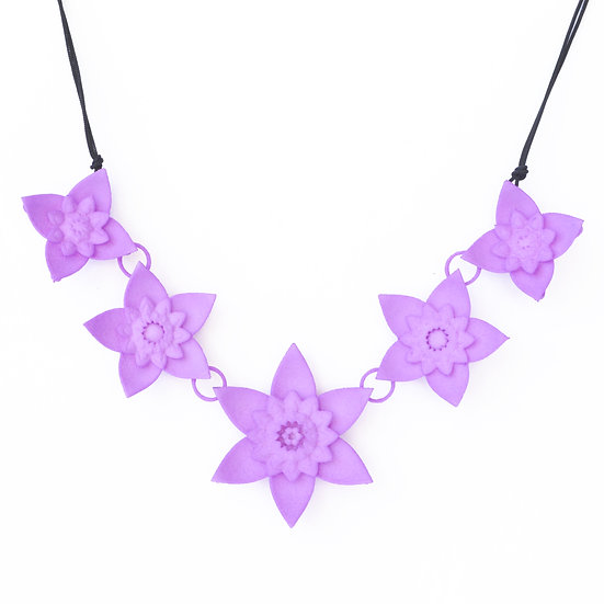 pastel lilac spring flower modern designer collar necklace