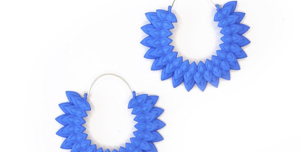 oversize hoops cobalt blue flowers handmade
