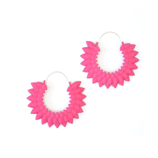 hot pink flower hoops