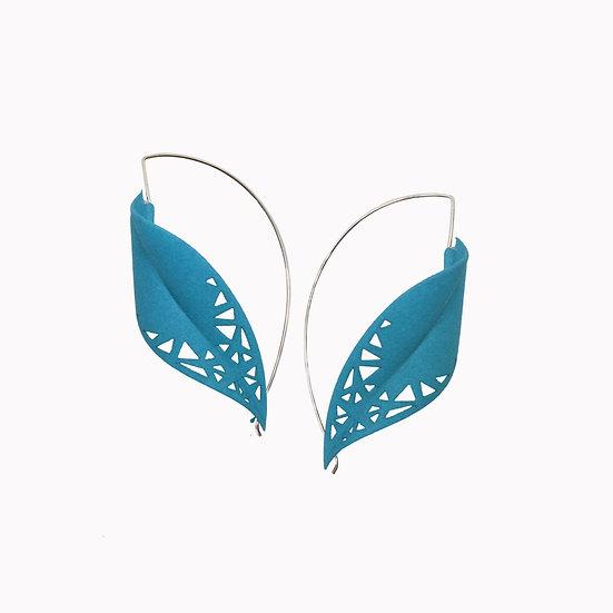 Petrol blue super light leaf earrings