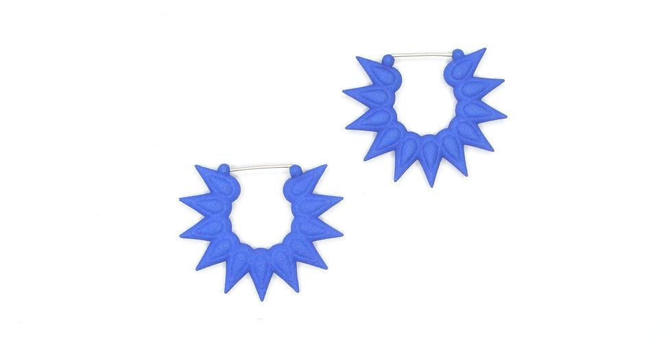 blue spikey earrings