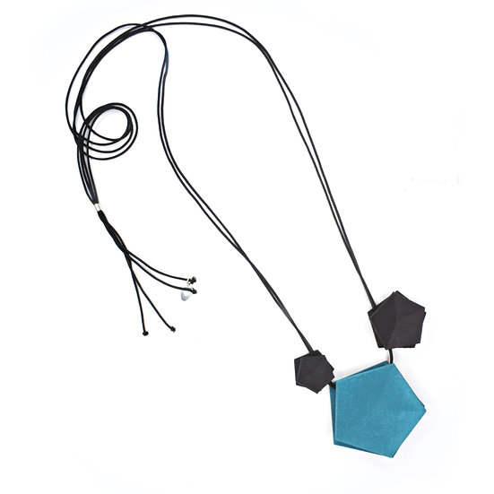 Vertigo 3 element Necklace - dark teal