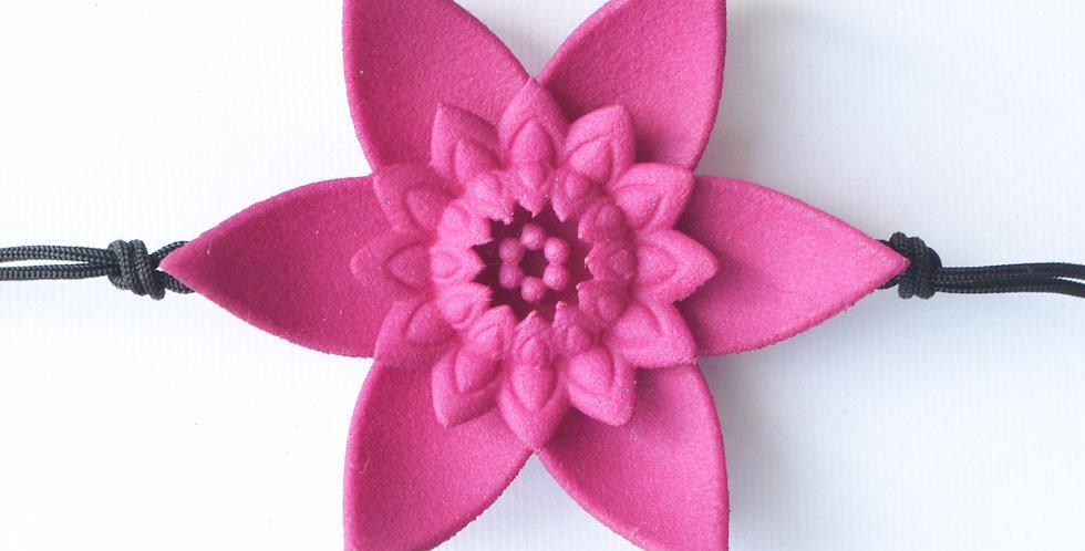 luxury fashion designer bracelet with large fuchsia pink flower