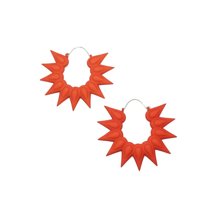 Orange big hoops earrings