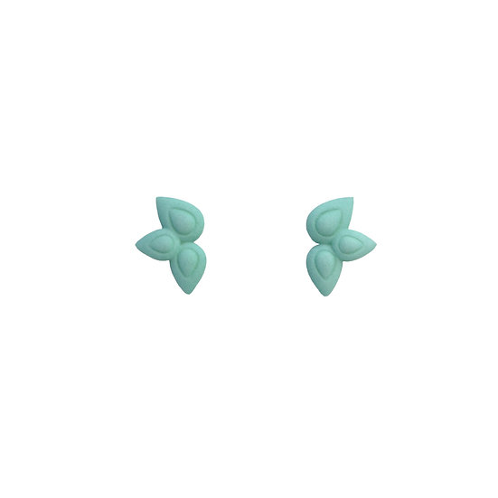 petal studs in aqua
