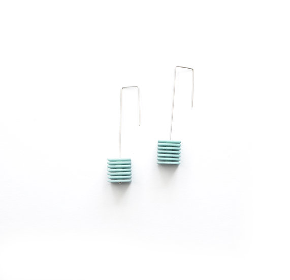exclusive aqua earrings with cubes