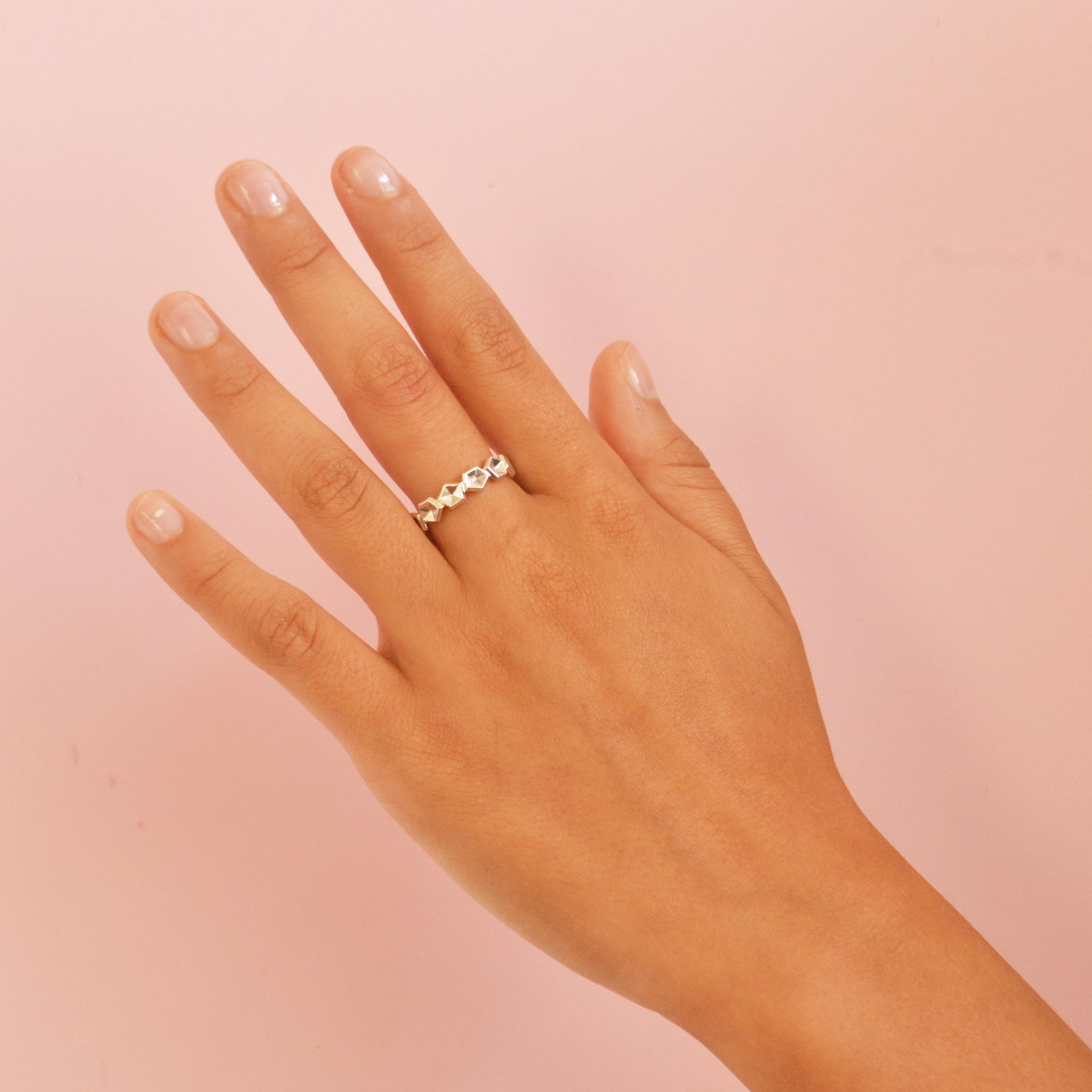 polished veretta ring on model