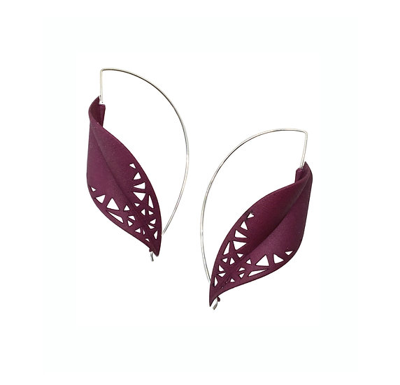 bespoke plum purple leaf earrings