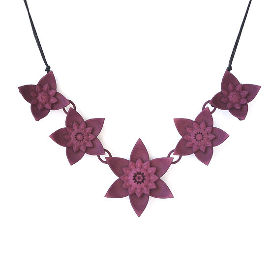 designer luxury fashion statement collar necklace with dahlia flowers in dark mauve colours