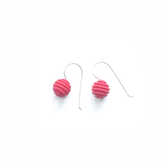 hot pink sphere earrings with stripes