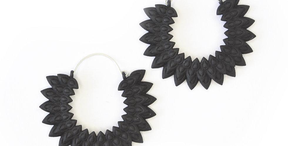 fashion earring dahlia flower large hoop black