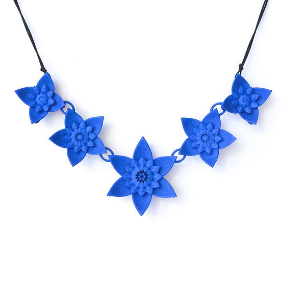 luxury fashion statement necklace with cobalt blue coloured spring flowers inspired by dahlias and mandalas