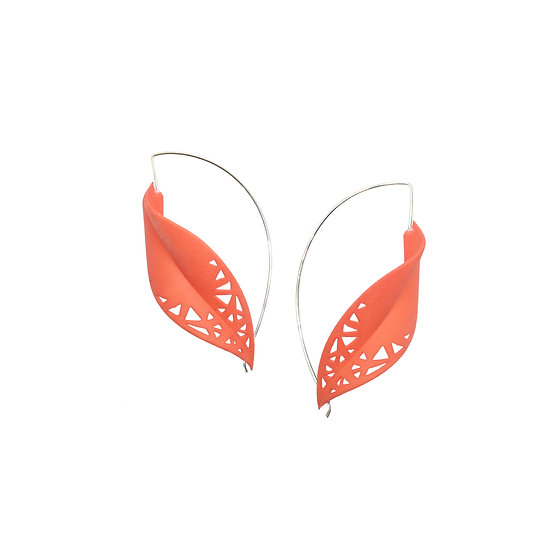 tangerine orange oversize leaf earrings