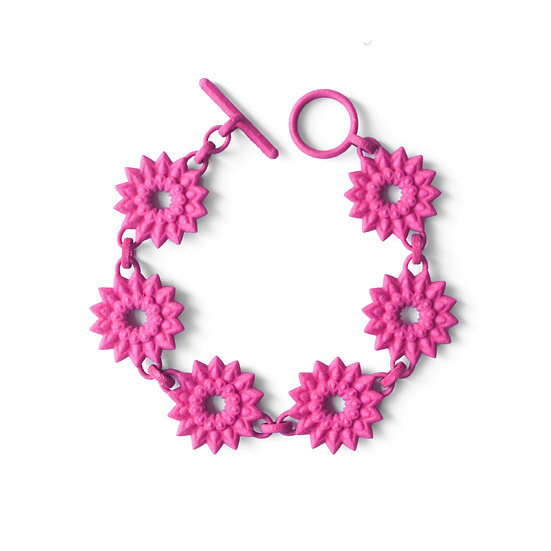 luxury designer chain bracelet boho gypsy style in hot pink fuchsia magenta colour