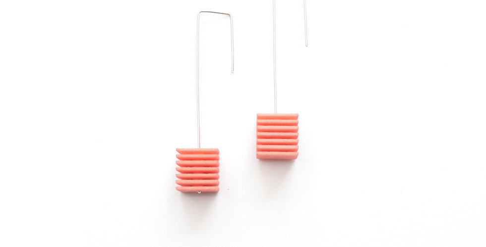 blush pink long dangling earrings