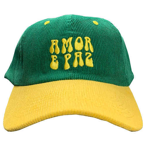 FOREST GREEN AND YELLOW CORDUROY CAP