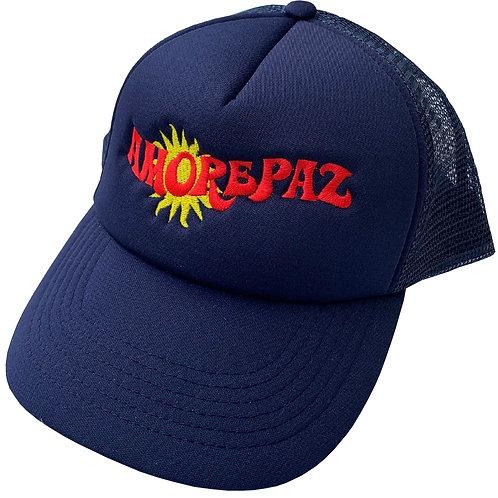 SUN LOGO NAVY TRUCKER CAP