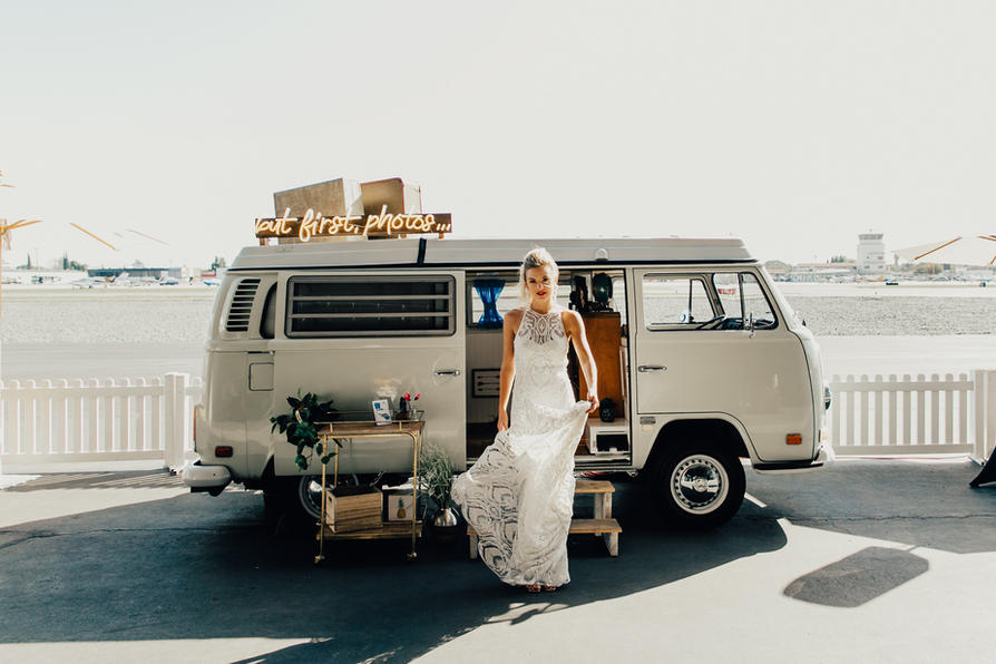A bride in front of the Photo Bus - Hangar 21, Fullerton, CA.