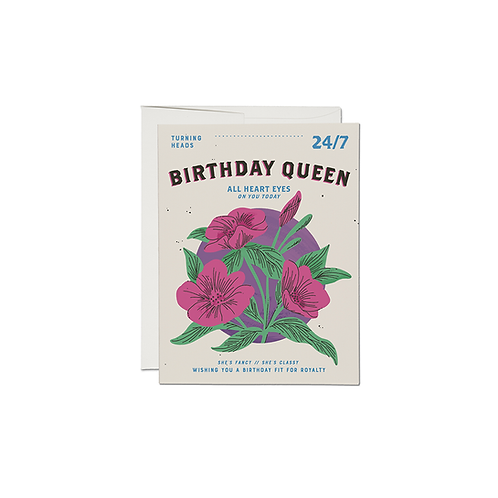 "RED CAP CARDS  ""BIRTHDAY QUEEN"""