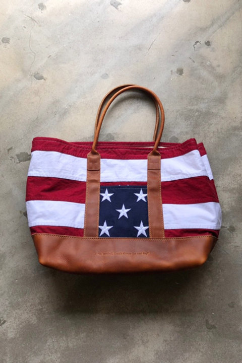 HERITAGE LEATHER x TA US FLAG TOTE BAG-WASHED