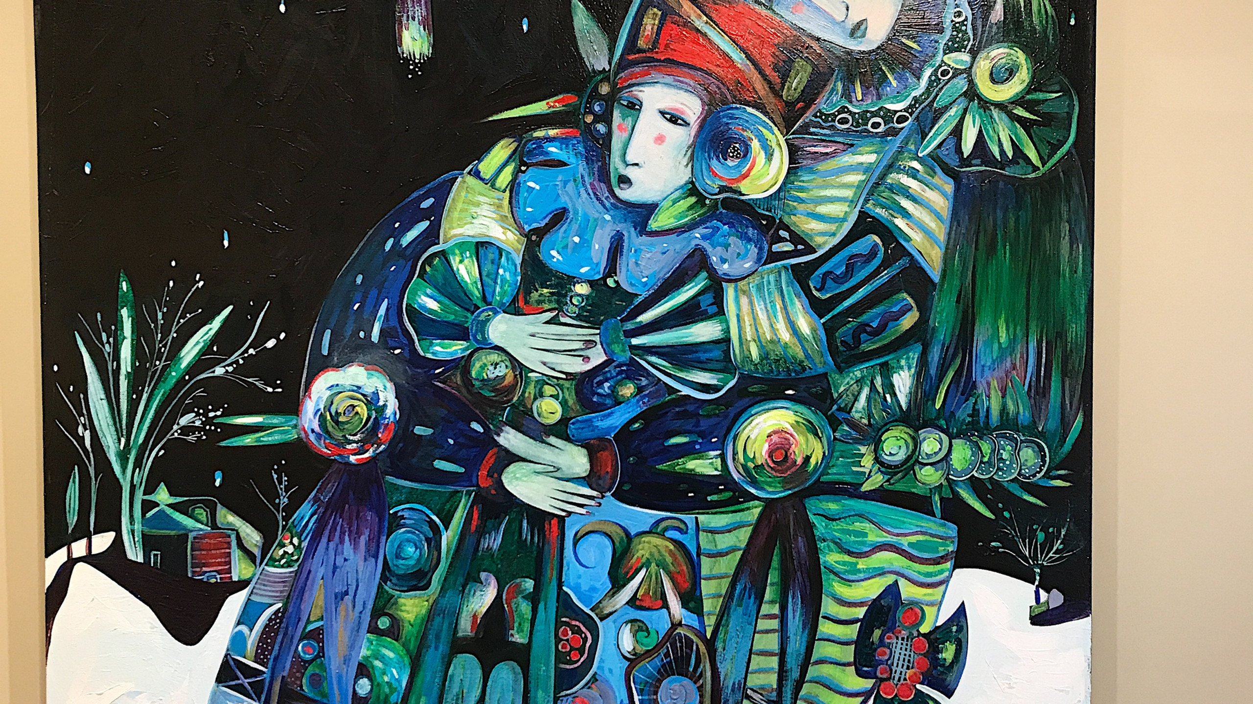 In this large 60x72 painting, Toller created a story between the two people. He used his typical green and blue shades which changed the  mood of the painting.
