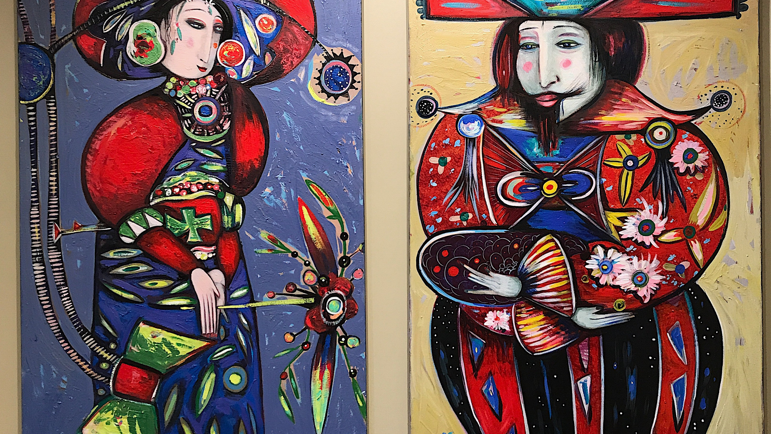 """The left painting is named """"Woman with Bouquet"""" and the right one is called """"Little Fool"""". Although these names are fairly simple, the vibrant colours and details make them exciting to look at."""