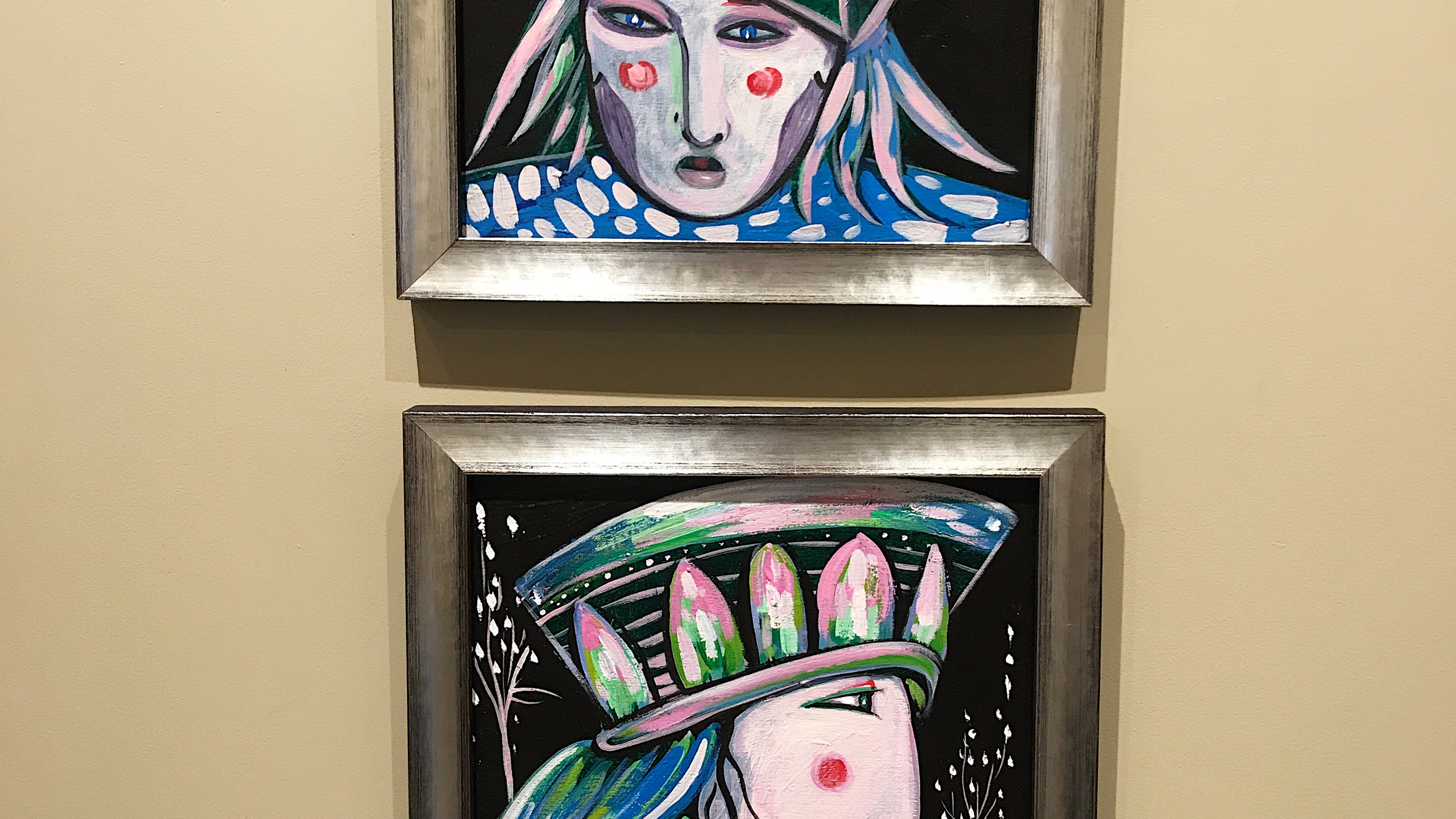 """The top painting is named """"The Hat is Only a Stage"""" and the bottom painting is called """"The Beard"""". Toller used the same size canvas and colours to tie the two 12x12 paintings  together."""