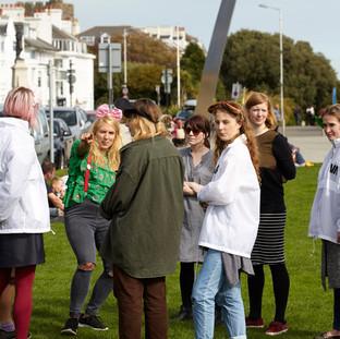 Occupy Folkestone prep Human Megaphone