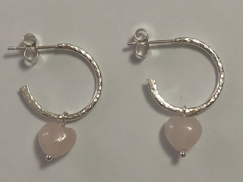 Half Hoops with detachable Rose quartz heart charm
