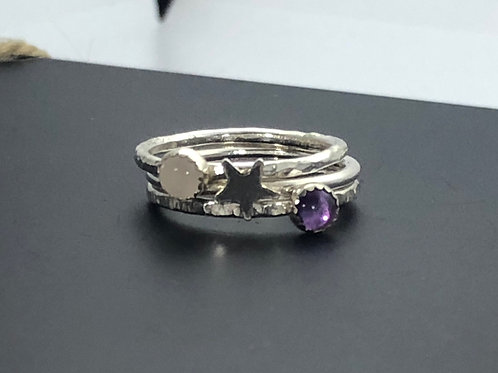 Rose Quartz, Amethyst and star stacking rings - set of 3
