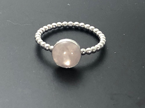 Rose Quartz stacking bubble ring