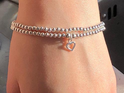 Tiny Heart Charm bracelet set