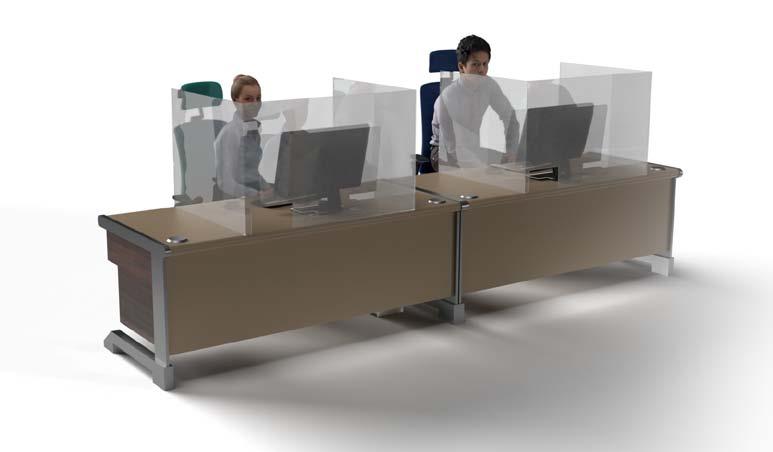 Floor Standing Acrylic Desk Divider Fron