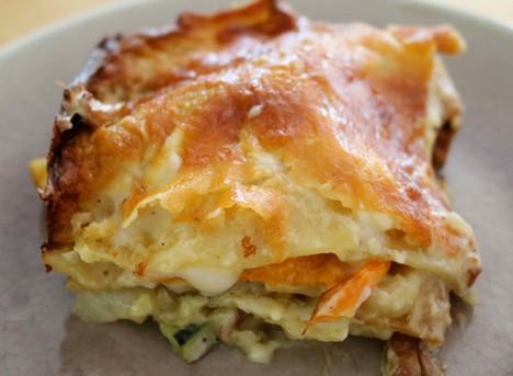 Chanterelles and roasted veggies lasagna