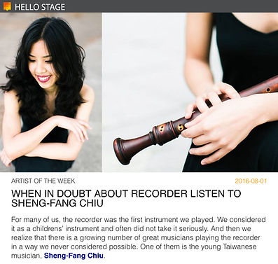 Sheng-Fang Chiu - Hello Stage Artist of the Week