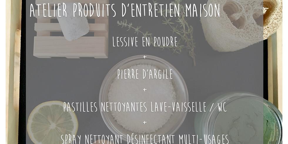 Atelier Produits d'entretien: Lessive + Pastilles lave-vaisselle + Spray Nettoyant + Pierre d'argile