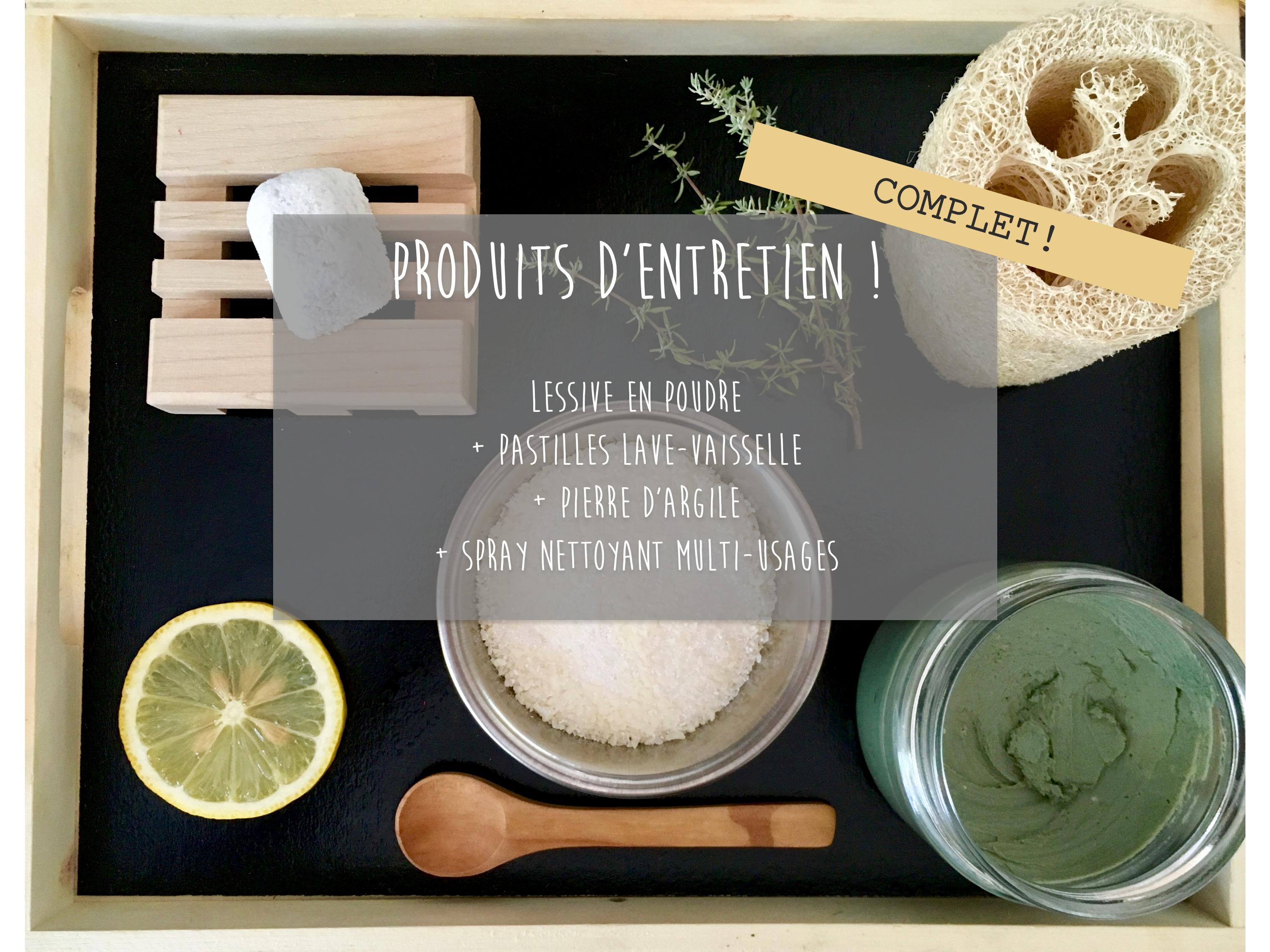 Entretien Du Lave Vaisselle atelier produits d'entretien: lessive + pastilles lave-vaisselle + pierre  d'argile + spray nettoyant