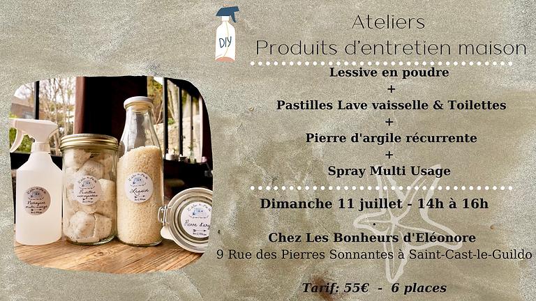 Atelier Produits d'entretien #1 : Lessive + Pierre d'argile + Pastilles Lave vaisselle + Spray multi-usages