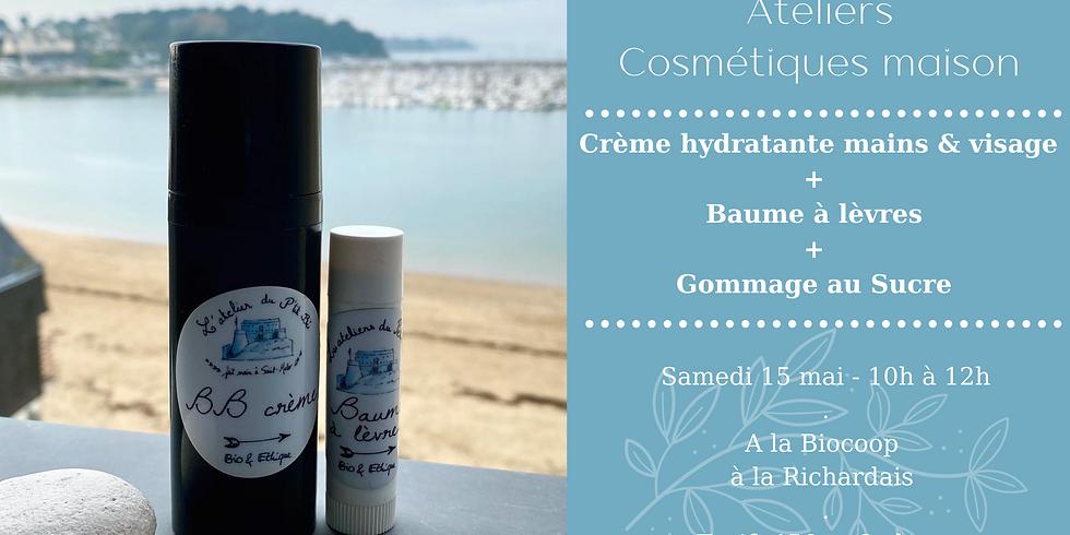Atelier Crème hydratante mains & visage, Baume à lèvres & Gommage au sucre