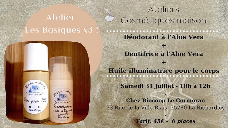 Atelier Les Basiques!: Déodorant + Dentifrice à L'aloe vera + Huile pour le corps