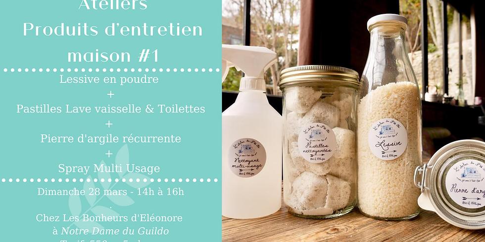 Atelier Produits d'entretien #1 : Lessive + Pierre d'argile + Pastilles Lave vaisselle + Spray Nettoyant