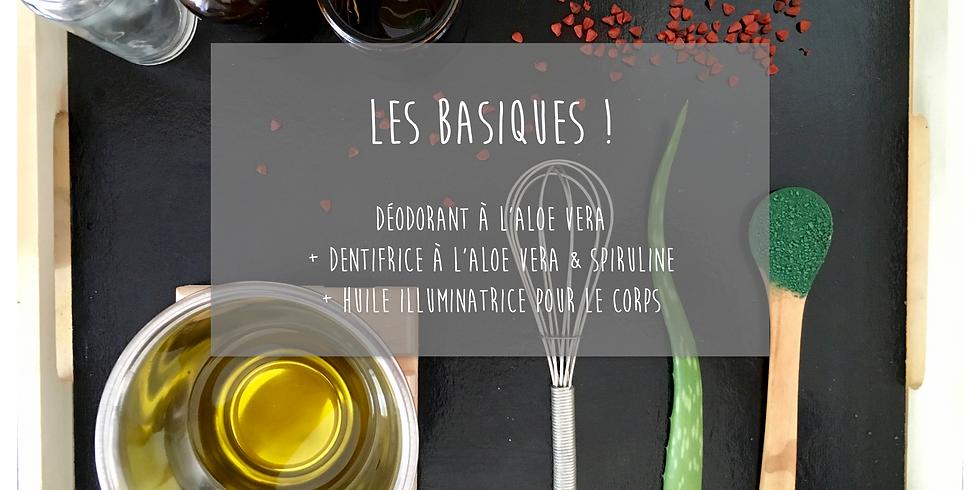 Atelier Les Basiques!: Déodorant à l'Aloe vera + Dentifrice à l'Aloe vera + Huile illuminatrice pour le corps