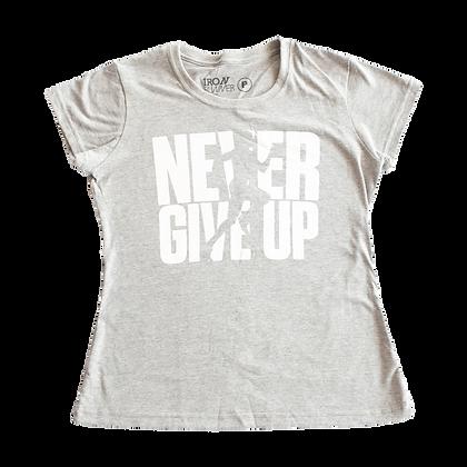 Camiseta Street wear feminina Runner - NEVER GIVE UP