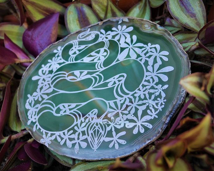 Cosmic Serpent Etched Green Agate