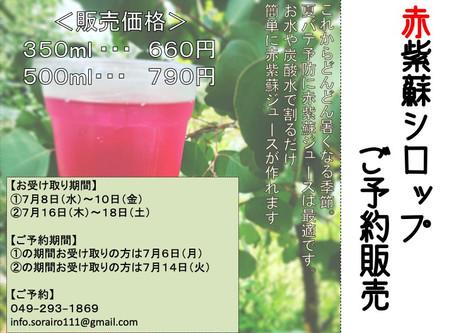 赤紫蘇シロップ予約販売します。